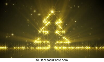 shiny christmas tree yellow stars