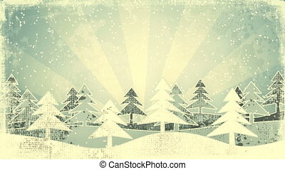 christmas winter scene grunge loop - christmas winter scene...