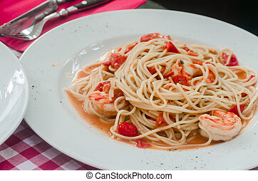Scampi, shrimp and pasta in a simple traditional style.
