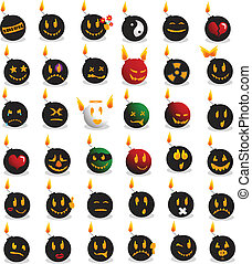 Bomb emotions smileys for internet forum or chat
