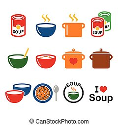 Soup in bowl, can and pot - food ic - Vector icons set of...