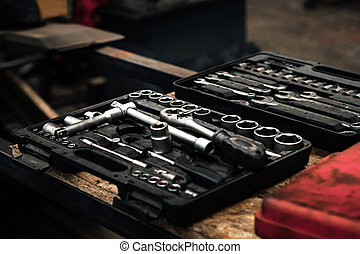 Industrial kit tools closeup