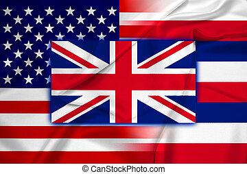 Waving USA and Hawaii State Flag