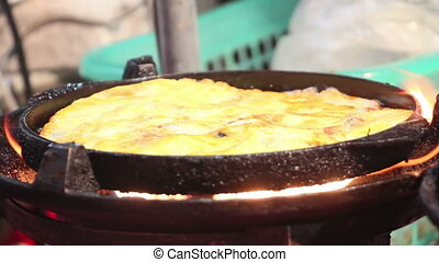 banana pancake cooking in market - banana pancake cooking in...