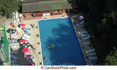 The pool at the hotel in Bulgaria. 4K.