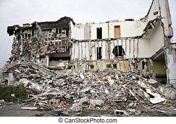 destruído, predios, escombros, série