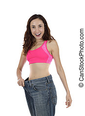 Smiling excited weight loss woman