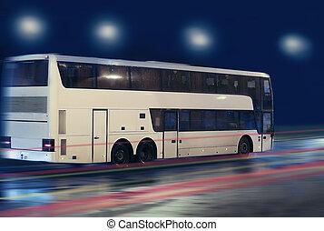 都市, 夜, 引っ越し, バス