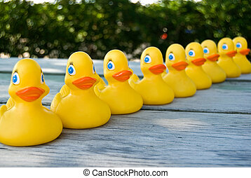 On Duck Row - Rubber ducks in a row on a weathered table.