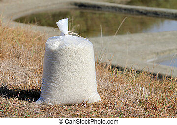 Bag of salt in the marshes of Noirmoutier (France)