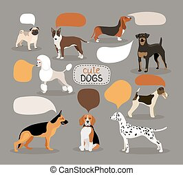 Set of dog breeds with speech bubbles - Set of colored...