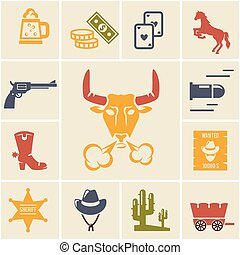 Assortment of Wild West Icons - Assortment of Colorful Wild...