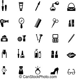 Make up icons - vector make up and beauty icons black on...