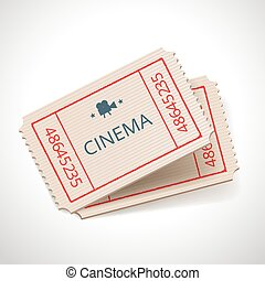 retro tickets - Vector cinema retro ticket icon isolated on...