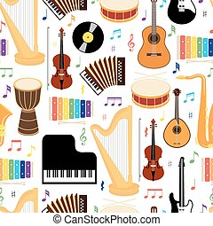 Musical instruments seamless pattern - Musical instruments...