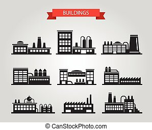 Set of flat design industrial buildings pictograms - Set of...