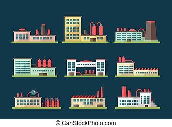 Set of flat design industrial buildings pictograms - Set of...