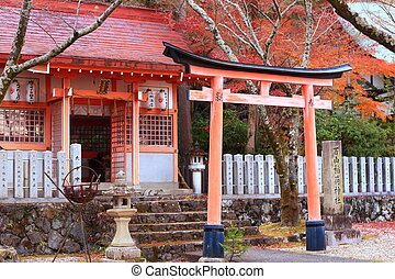 Toriia gateway at the entrance to a Shinto shrine