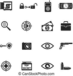 Secret Agent Accessories Icons - Black Secret Agent...