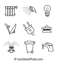 Public service and utilities icons set with vector outline...