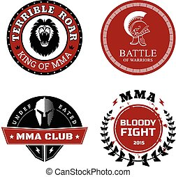MMA Labels - Mixed Martial Arts Design - Vector MMA Labels -...