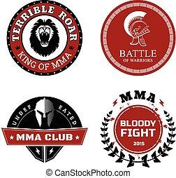 MMA, etiquetas, -, misturado, marcial, artes, desenho