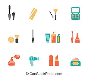 Hairstyling and makeup flat icons - Set of colored vector...
