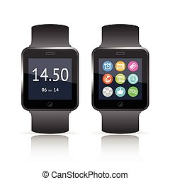 Smart watch vector illustration with two versions one...