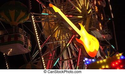 Neon guitar. Golden Sands. Resort in Bulgaria. 4K. - Neon...