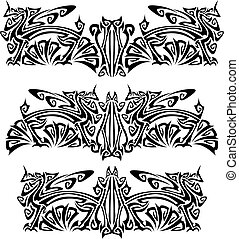 Ornaments with griffins. Mixed design of two styles: tribal...