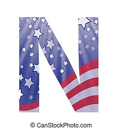 american letter N - colorful illustration with american flag...
