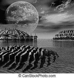 Fantasy landscape - apocalypse, beautiful, city, cloud,...