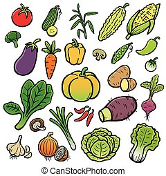 Vegetable - Vector Illustration of Cartoon vegetable set