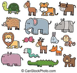 Wild Animals - Vector Illustration of Cartoon Wild Animals...