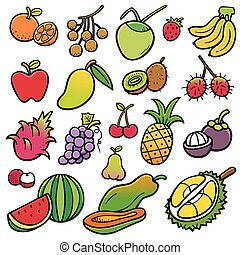 Fruits - Vector Illustration of Fruits set