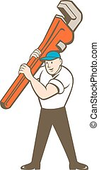 Plumber Carrying Monkey Wrench Cartoon - `Illustration of a...