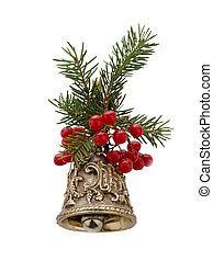 Christmas bell decorated with fir branches and berries...
