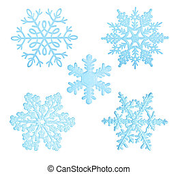 Blue snowflakes - Blue snowflakes isolated on white...