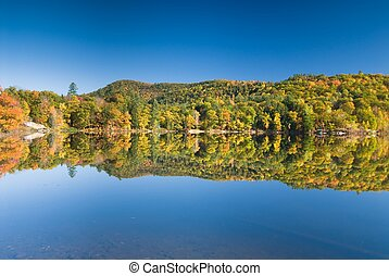 Prefect lakeshore reflection - Lush fall foliage reflecting...