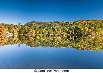 Prefect lakeshore reflection - Lush fall foliage reflecting...