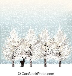 Holiday background with snowy trees and reindeer - Holiday...