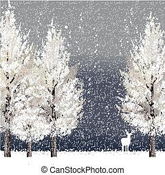 Winter background at night with white trees and reindeer...