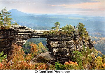 Natural stone gate - Pravcicka Brana in Hrensko Czech...