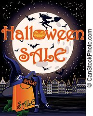 Happy Halloween sale shopping card vector