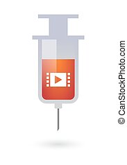 Syringe with a multimedia sign