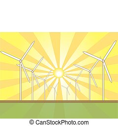 Solar Wind Mills - Solar wind mills against a sunburst...