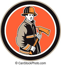 Illustration of a fireman fire fighter emergency worker holding a fire axe viewed from front set inside circle on isolated background done in retro style.