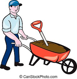Gardener Pushing Wheelbarrow Cartoon - Illustration of male...