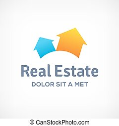 Real estate logo icon design template with houses and arrows