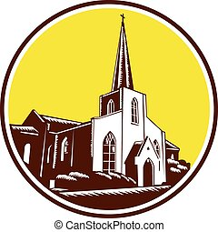 Trinity Parish Episcopal Church Woodcut Retro - Illustration...